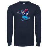 Navy Long Sleeve T Shirt-Full Mascot