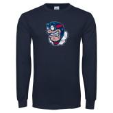 Navy Long Sleeve T Shirt-Mascot Distressed