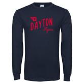 Navy Long Sleeve T Shirt-Dayton Flyers Wave Design