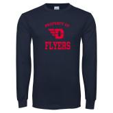 Navy Long Sleeve T Shirt-Property of Dayton Flyers