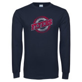 Navy Long Sleeve T Shirt-Distressed Flyers Wordmark