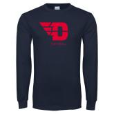Navy Long Sleeve T Shirt-Softball