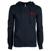 ENZA Ladies Navy Fleece Full Zip Hoodie-Dayton Flyers