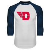 White/Navy Raglan Baseball T Shirt-Flying D