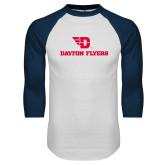 White/Navy Raglan Baseball T Shirt-Dayton Flyers
