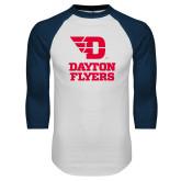 White/Navy Raglan Baseball T Shirt-Dayton Flyers Stacked