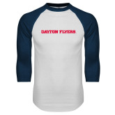 White/Navy Raglan Baseball T Shirt-Athletics Wordmark