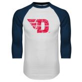 White/Navy Raglan Baseball T Shirt-Flying D Distressed