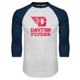 White/Navy Raglan Baseball T Shirt-Stacked Dayton Flyers Distressed