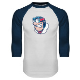 White/Navy Raglan Baseball T Shirt-Mascot Distressed