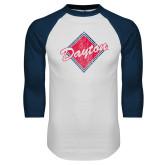 White/Navy Raglan Baseball T Shirt-Distressed Dayton