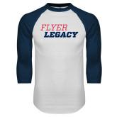 White/Navy Raglan Baseball T Shirt-Flyer Legacy