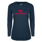 Ladies Syntrel Performance Navy Longsleeve Shirt-Dayton Flyers