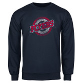 Navy Fleece Crew-Distressed Flyers Wordmark