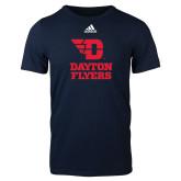 Adidas Navy Logo T Shirt-Dayton Flyers Stacked