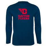 Performance Navy Longsleeve Shirt-Dayton Flyers Stacked