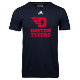 Adidas Climalite Navy Ultimate Performance Tee-Dayton Flyers Stacked