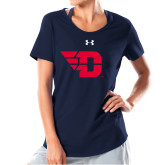 Ladies Under Armour Navy Charged Cotton Tee-Flying D