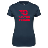 Ladies Syntrel Performance Navy Tee-Dayton Flyers Stacked