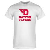 White T Shirt-Dayton Flyers Stacked