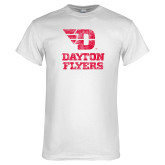White T Shirt-Stacked Dayton Flyers Distressed
