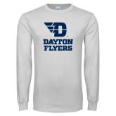 White Long Sleeve T Shirt-Dayton Flyers Stacked
