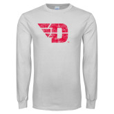 White Long Sleeve T Shirt-Flying D Distressed