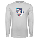 White Long Sleeve T Shirt-Mascot Distressed