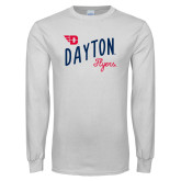 White Long Sleeve T Shirt-Dayton Flyers Wave Design