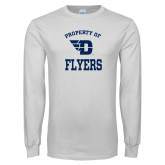 White Long Sleeve T Shirt-Property of Dayton Flyers