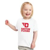 Toddler White T Shirt-Dayton Flyers Stacked