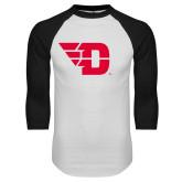 White/Black Raglan Baseball T Shirt-Flying D