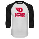 White/Black Raglan Baseball T Shirt-Dayton Flyers Stacked