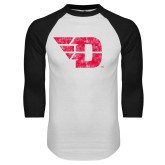 White/Black Raglan Baseball T Shirt-Flying D Distressed