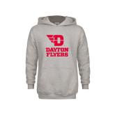 Youth Grey Fleece Hood-Dayton Flyers Stacked