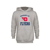 Youth Grey Fleece Hood-Property of Dayton Flyers