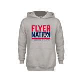 Youth Grey Fleece Hood-Flyer Nation