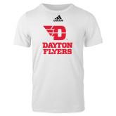 Adidas White Logo T Shirt-Dayton Flyers Stacked