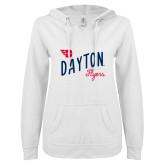 ENZA Ladies White V Notch Raw Edge Fleece Hoodie-Dayton Flyers Wave Design