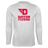 Performance White Longsleeve Shirt-Dayton Flyers Stacked