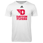 Adidas Climalite White Ultimate Performance Tee-Dayton Flyers Stacked