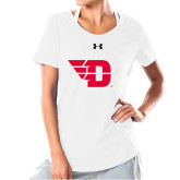 Ladies Under Armour White Charged Cotton Tee-Flying D