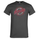 Charcoal T Shirt-Distressed Flyers Wordmark