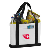 Contender White/Black Canvas Tote-Flying D