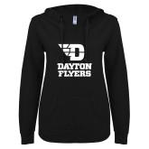 ENZA Ladies Black V Notch Raw Edge Fleece Hoodie-Dayton Flyers Stacked