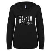 ENZA Ladies Black V Notch Raw Edge Fleece Hoodie-Dayton Flyers Wave Design