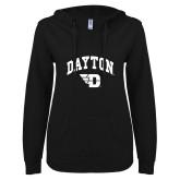 ENZA Ladies Black V Notch Raw Edge Fleece Hoodie-Arched Dayton