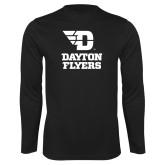 Performance Black Longsleeve Shirt-Dayton Flyers Stacked