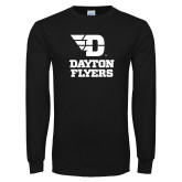 Black Long Sleeve T Shirt-Dayton Flyers Stacked