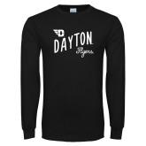 Black Long Sleeve T Shirt-Dayton Flyers Wave Design